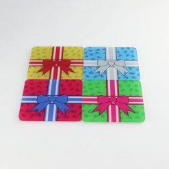 Printed Acrylic Christmas Presents Coaster Set