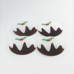 Printed Acrylic Christmas Pudding Coaster Set