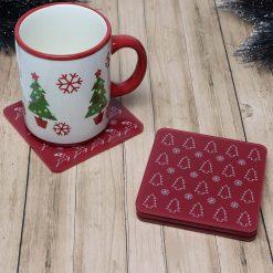 Set of 4 Printed Acrylic Christmas Design Coasters