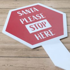 Red Santa Stop Here Large Hexagon Sign