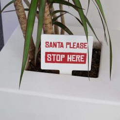 Red Santa Please Stop Here Mini Rectangle Shaped Christmas Sign