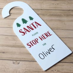 Santa Please Stop Here For Door Hanging Sign Wood with name