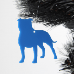 Acrylic Staffy Dog Staffordshire Bull Terrier Christmas Tree Decorations