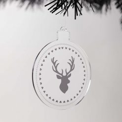 Stag Acrylic Christmas Bauble on Tree