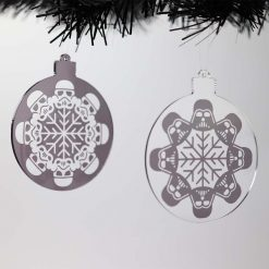 Star Wars Themed Acrylic Christmas Baubles Set on Tree