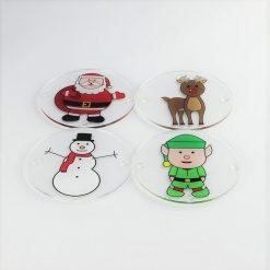 Printed Acrylic Christmas Character Coaster Set