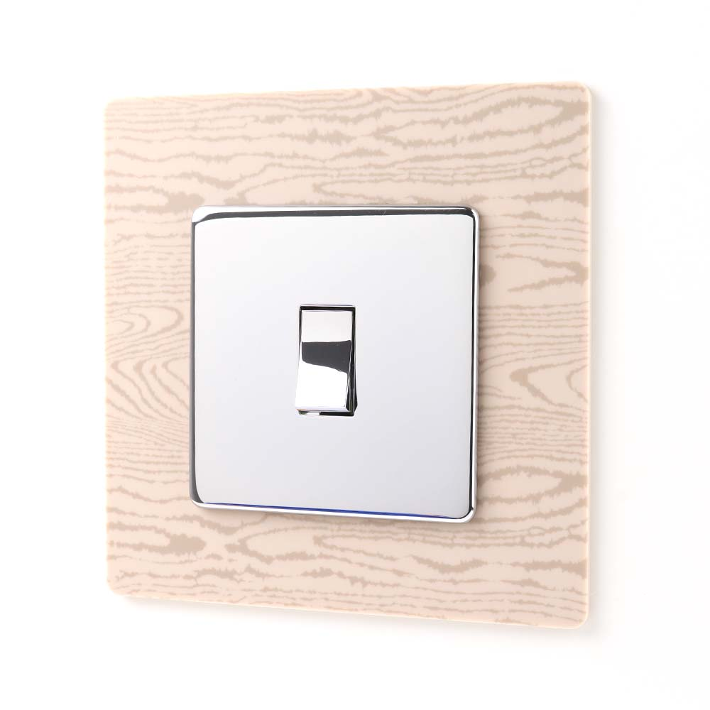 Light Wood Effect Acrylic Single Printed Light Switch Surround