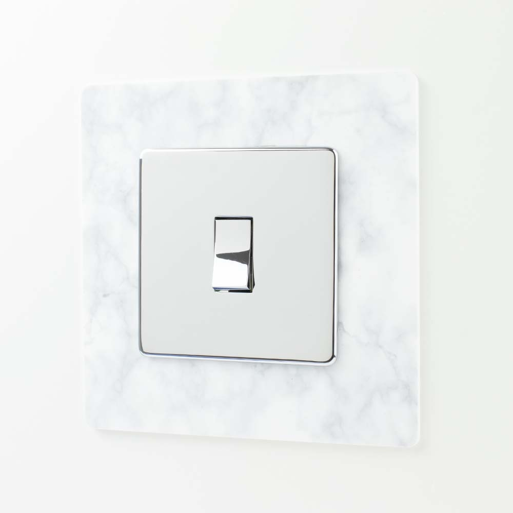 White Marble Effect Acrylic Single Printed Light Switch Surround
