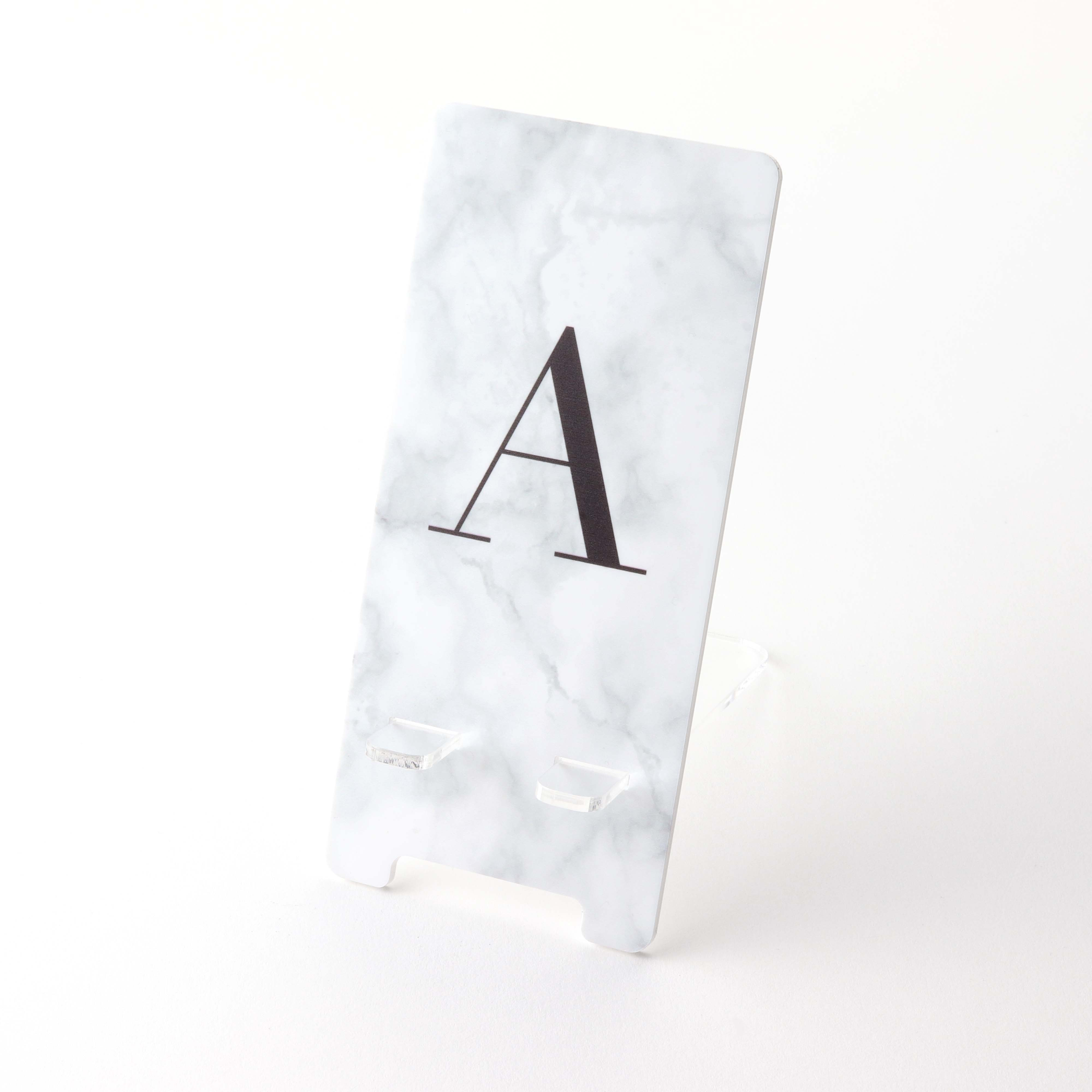 Printed Acrylic Mobile Phone Stand Marble Effect Monogrammed A