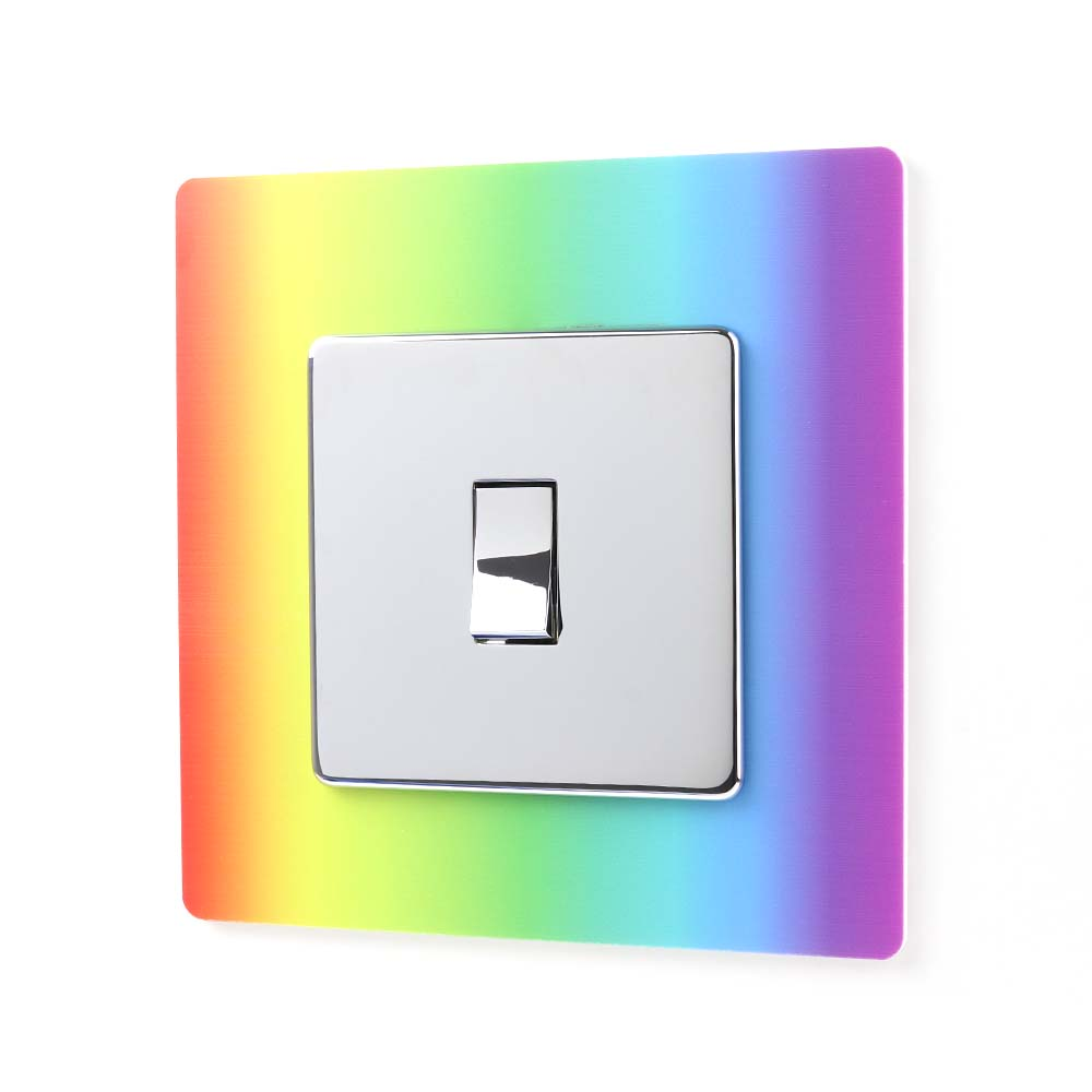 Rainbow Light Acrylic Single Printed Light Switch Surround