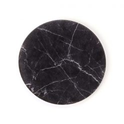 Black Marble Round Coaster face on