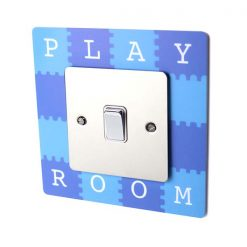 Blue Children's Playroom Acrylic Single Light Switch Surround