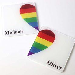Couples Rainbow Heart Coasters 2