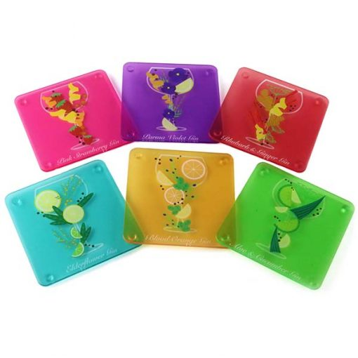6 Flavoured Gin Themed Acrylic Coasters 2