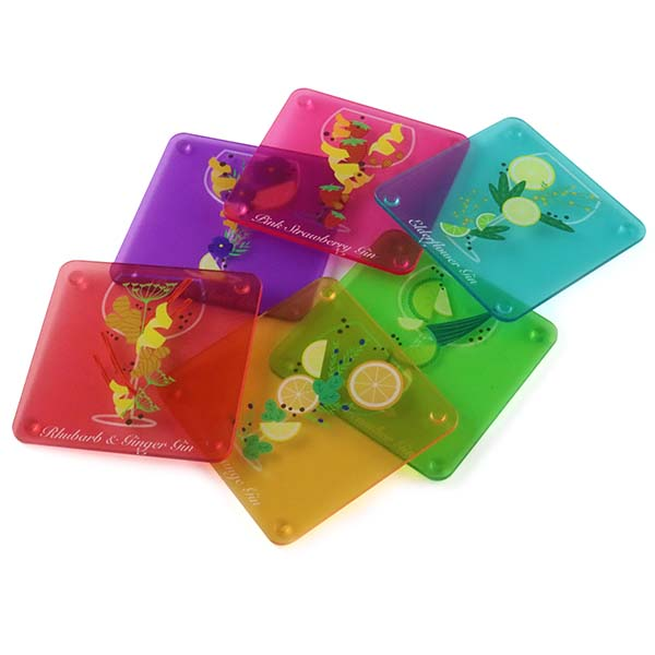 6 Flavoured Gin Themed Acrylic Coasters 1