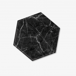 Black Hexagon Marble Coaster
