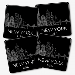 Black New York Skylines Coasters