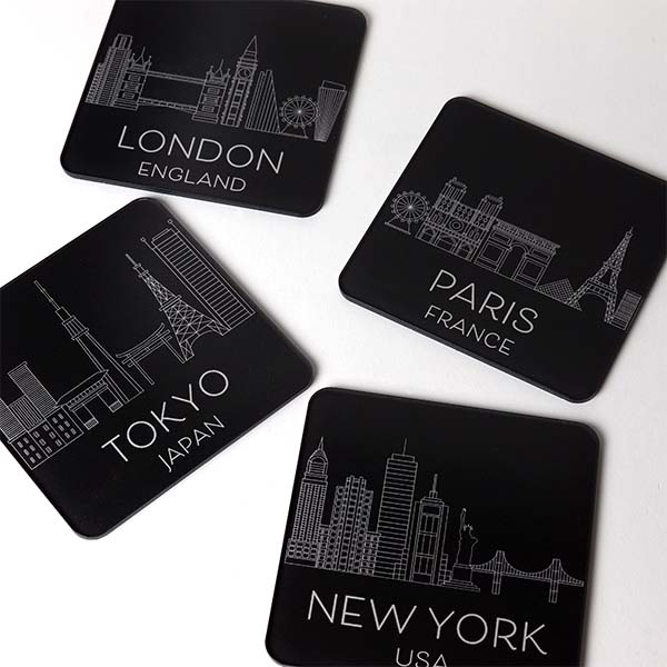 Black Capital City Coasters