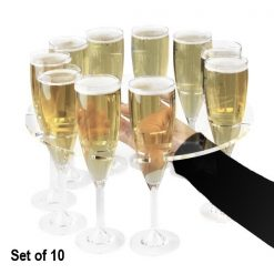 Set of 10 Acrylic Champagne Flute Serving Trays