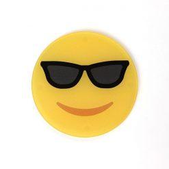 Smiling Sunglasses Face Printed Acrylic Emoji Coaster
