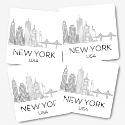 White New York Skylines Coasters
