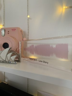Portrait Personalised Sound Wave Block - Pink - Taylor Swift