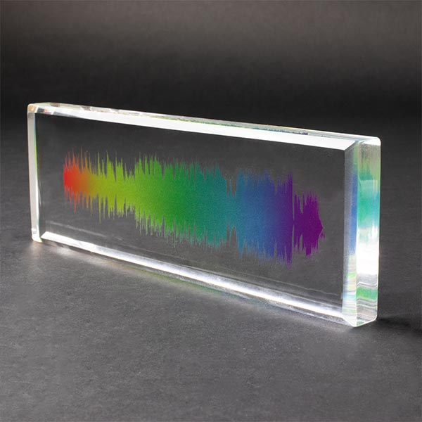 Acrylic Personalised Sound Wave Block Rainbow