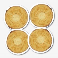 Wood Round Coaster - Set of 4