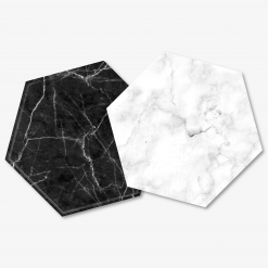 Hexagon Black & White Marble