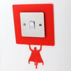 Superhero Light Switch Surround Bright Red