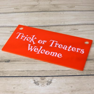 TrickOrTreatersWelcome Sign