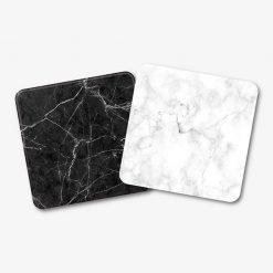 Black & White Square Marble Coaster Set