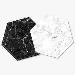Hexagon Black & White Marble Coaster Set